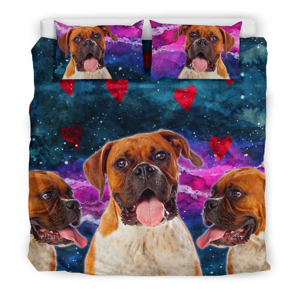 Boxer Dog Hearts Bedding Set Cute Dogs in Space Covered