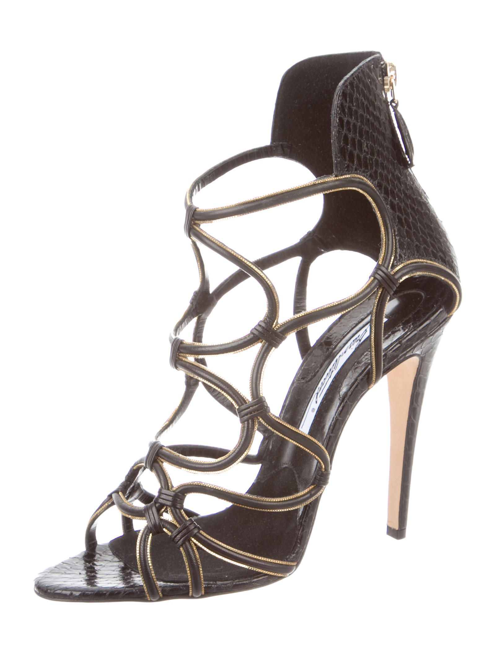 buy cheap ebay cheap marketable Brian Atwood Snakeskin Caged Sandals 0rU73zTV