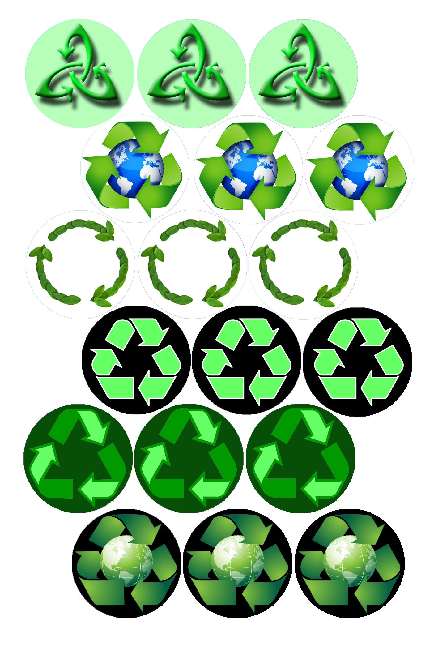 Recycle Symbols Bottle Cap Image Pack Formatted For Printing On 4 X
