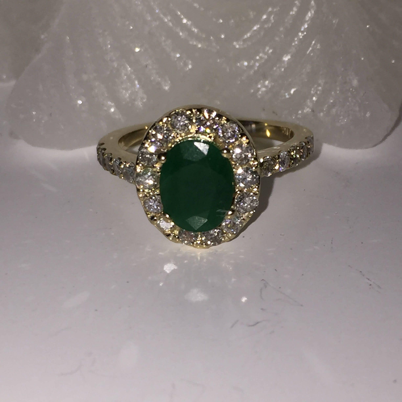 Emerald Ring Diamond Ring Emerald And Diamond Ring Women Emerald