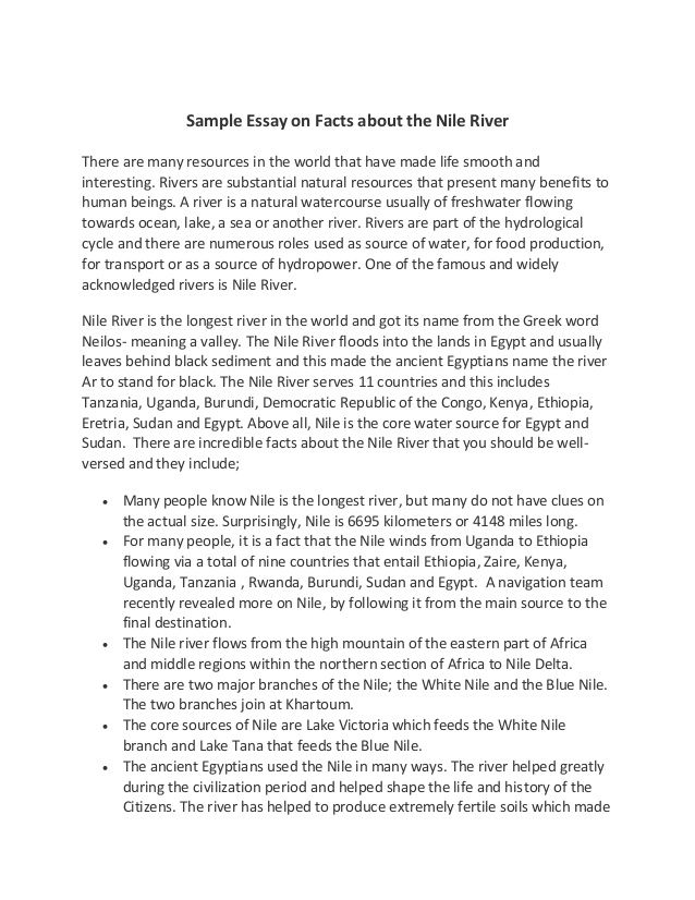 Sample Essay On Facts About The Nile River There Are Many Resources  Sample Essay On Facts About The Nile River There Are Many Resources In The  World Literary Essay Thesis Examples also Cheap Online Services  Health Is Wealth Essay