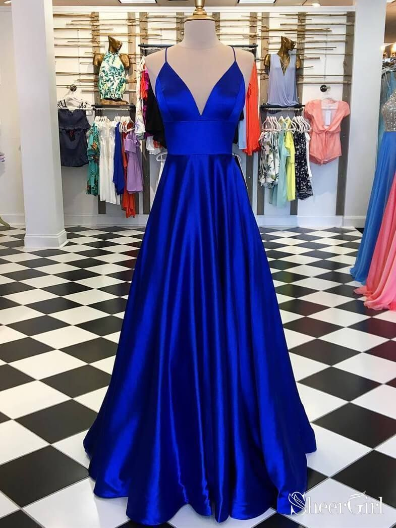 Photo of A Line Satin Burgundy Simple Prom Dresses Spaghetti Strap V Neck Plus Size Formal Dresses ARD1025