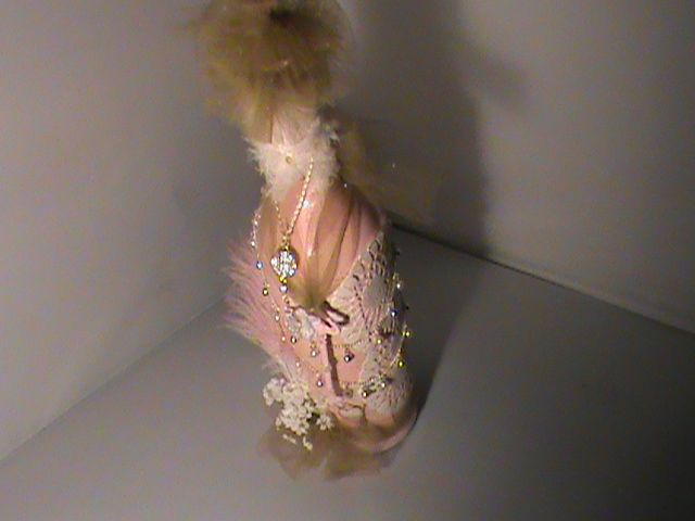 Shabby Chic Feather Brown & Pink Handmade  Bottle