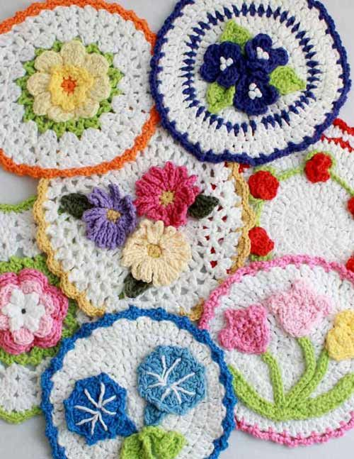 Maggie's Crochet · PA903 Floral Bouquet of Dishcloths Set 2 Crochet Pattern