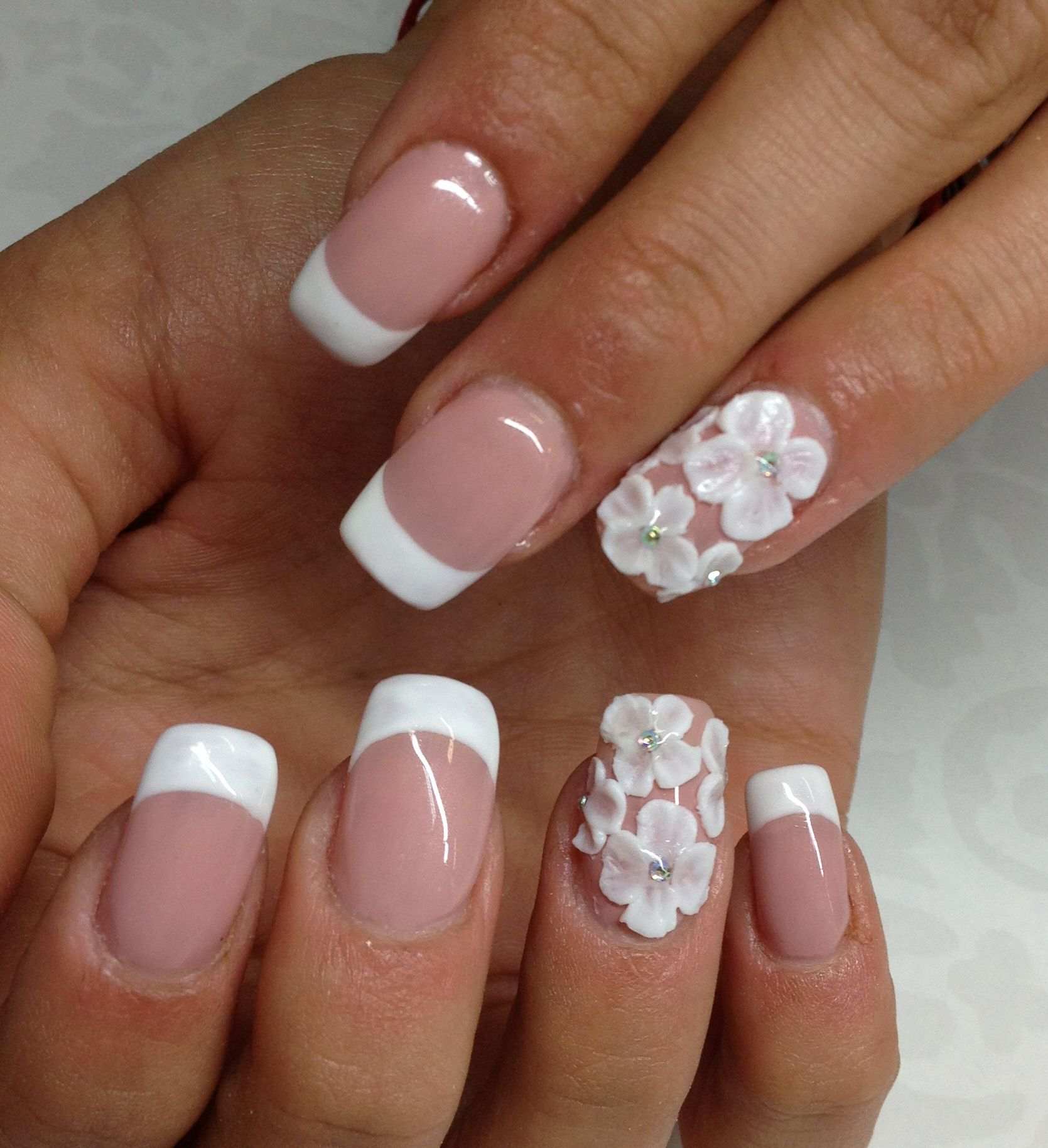 French Manicure With 3d Flowers By Tanya Angelova Nail Art Photos Manicure Short Acrylic Nails