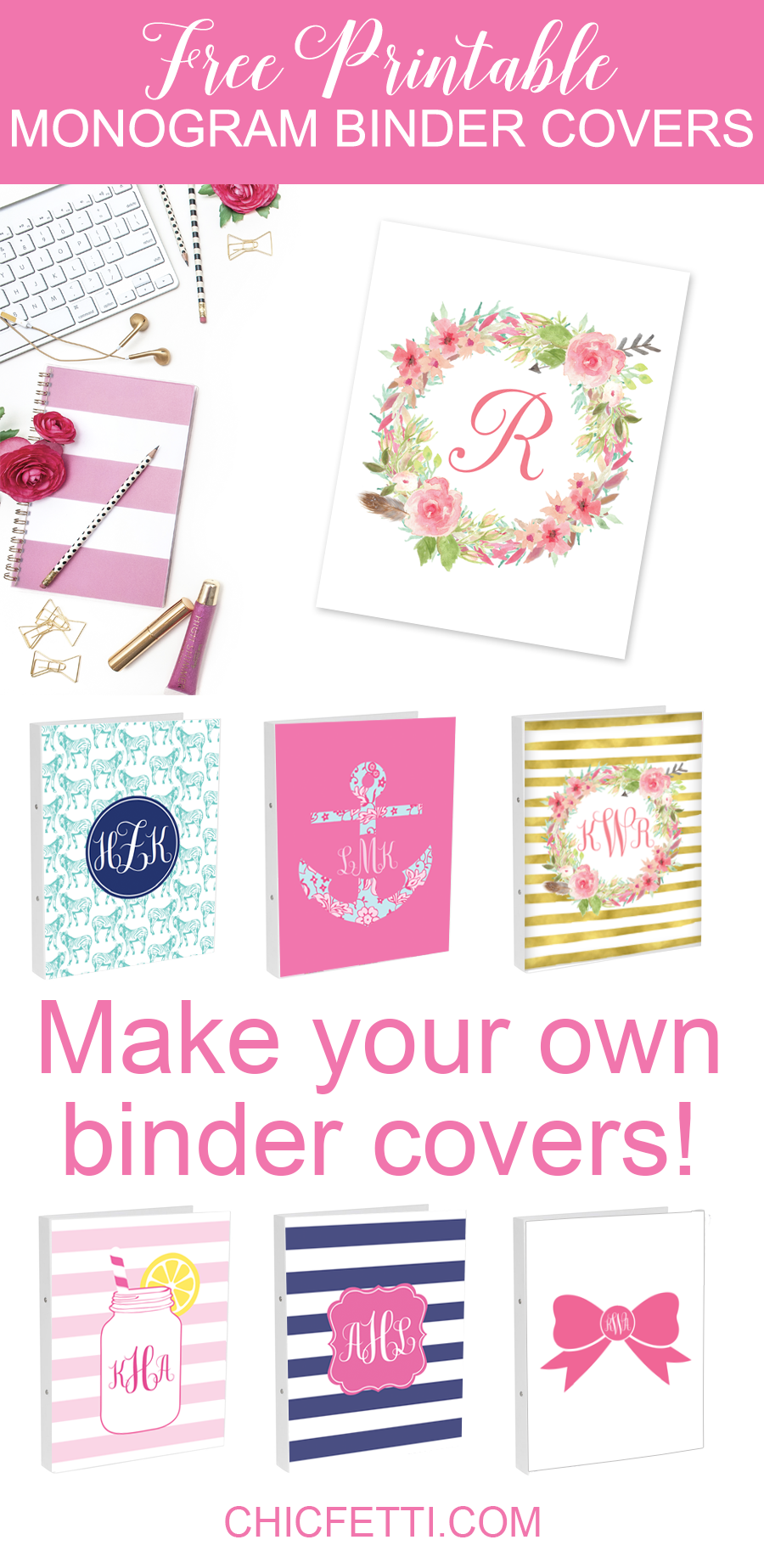 Printable Book Cover Creator : Diy monogram binder covers using free maker