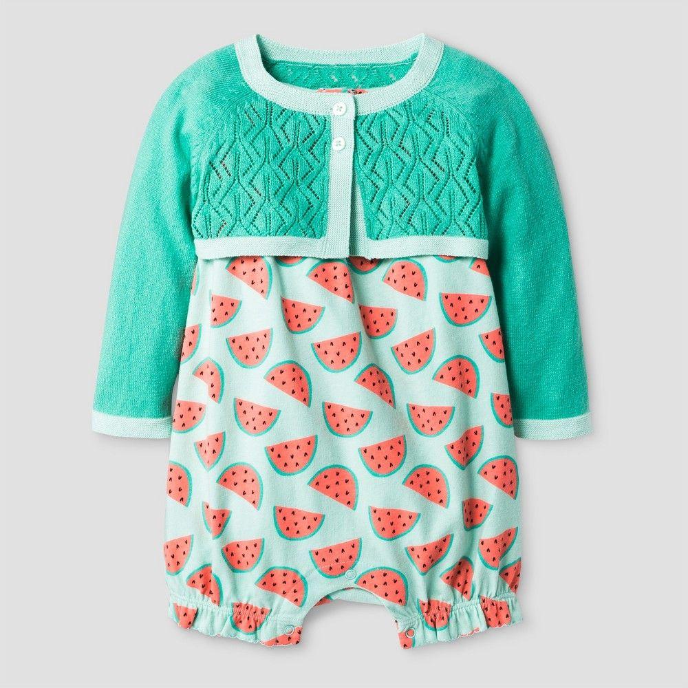 5e7ffcb7b95f Baby Girls  2-pc Cardigan and Knit Romper Set - Baby Cat   Jack Aqua ...