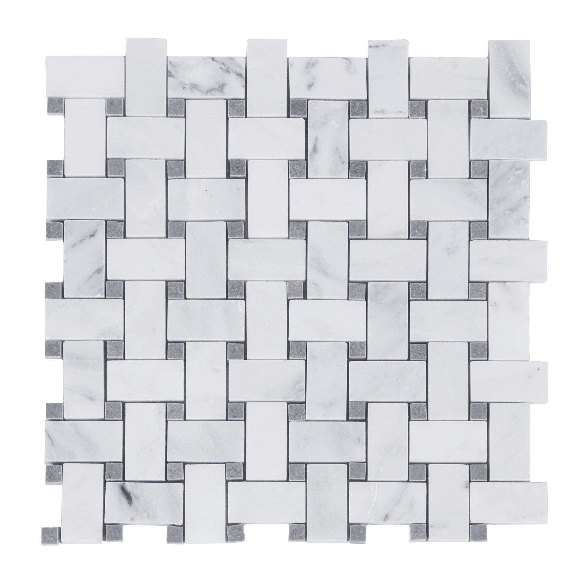 Carrara Carrera Lady Marble Accent Basketweave Mosaic Polished Basket Weave Tile Stone Mosaic Basket Weaving