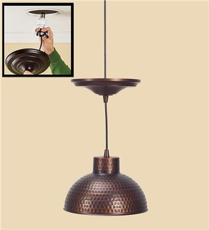 Hammered copper pendant lighting plow hearth for over kitchen island