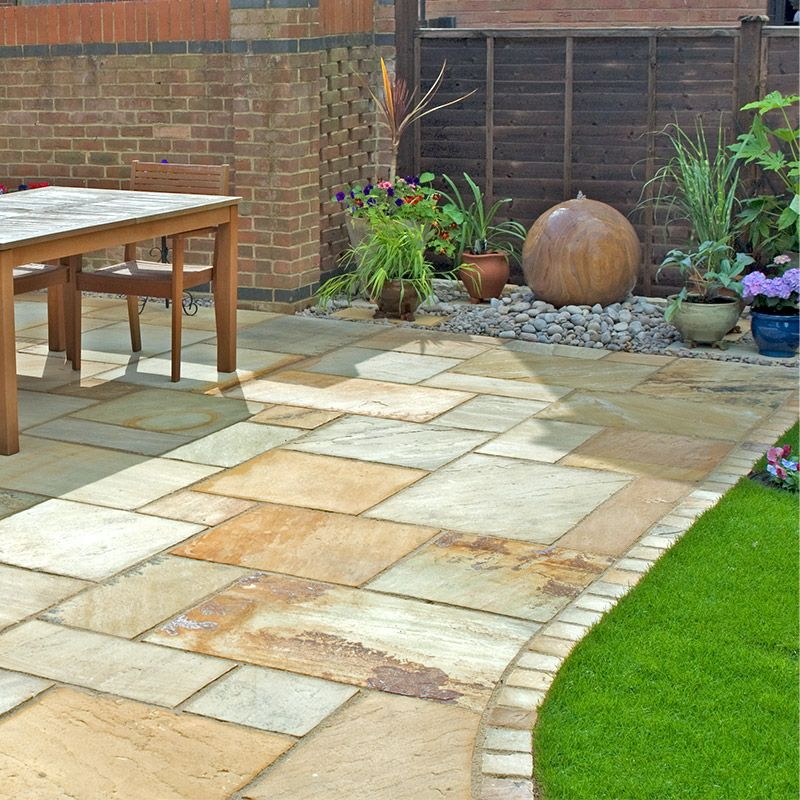 Fossil Mint Sandstone Patio Pack | Fossil Cream Sandstone Paving ...