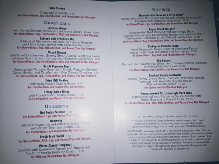 This article contains the food allergy friendly lunch and dinner menu for Sci-Fi Dine In located at Disney's Hollywood Studios.