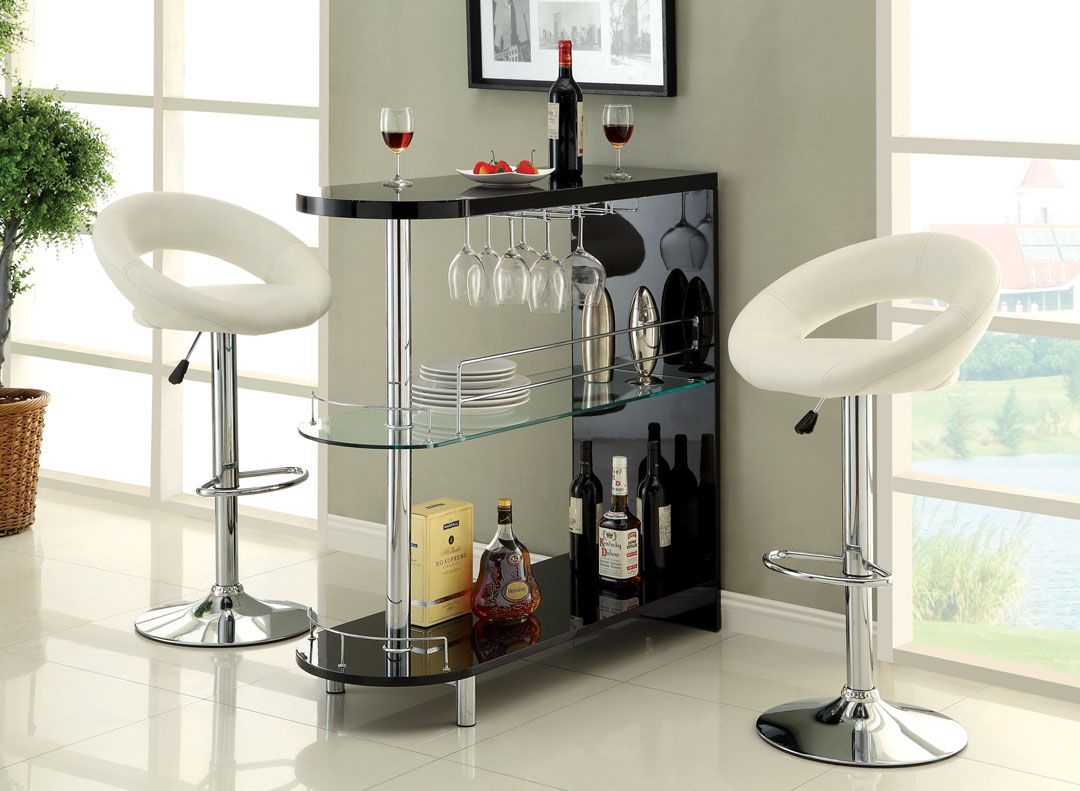 Charmant A.M.B. Furniture U0026 Design :: Bar Stools And Bars :: Bar Tables :: Numbi  Modern Style Black Lacquered Finish And Glass Mini Bar Server Island Table