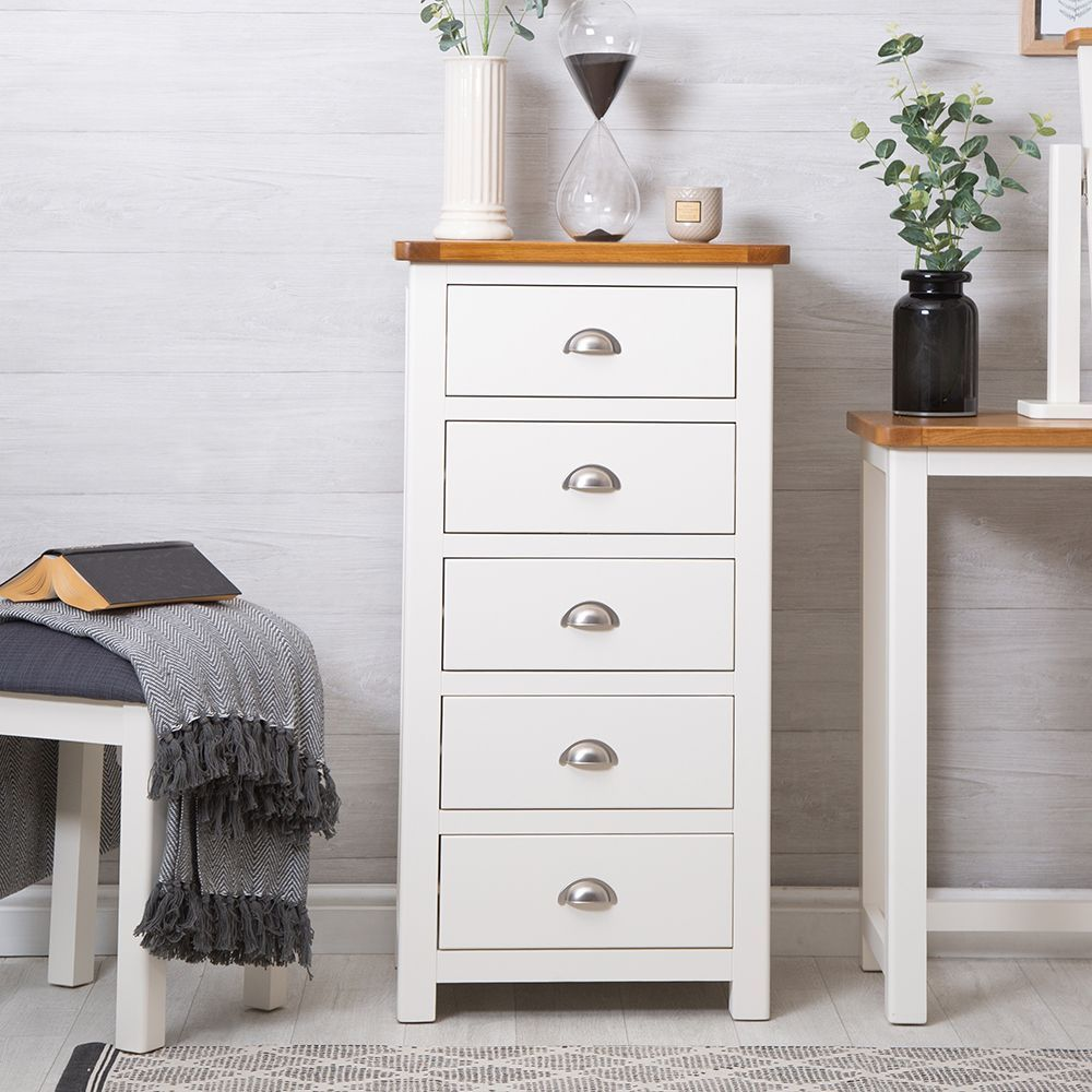 Portland White Painted Oak 5 Drawer Tallboy in 2019 | my ...