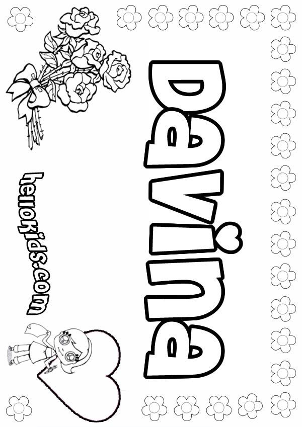 Davina Girl Coloring Page Candy Coloring Pages Name Coloring