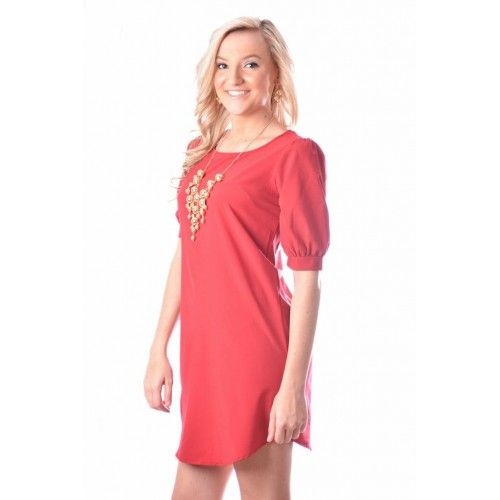 Red Shift Dress #fallfashion