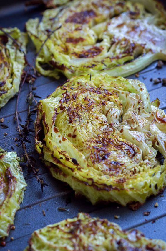 Balsamic Honey Roasted Cabbage Steaks Food Recipes Cooking Recipes Veggie Dishes