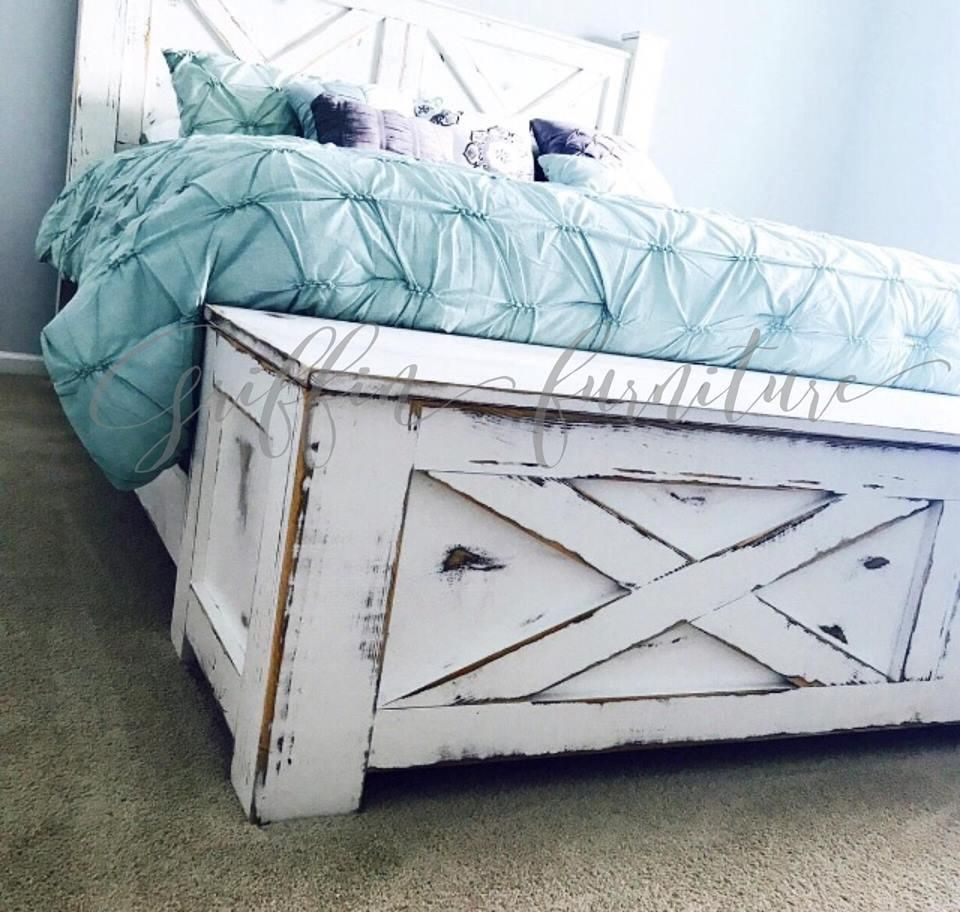Wood Bed frame with storage bench for footboard in King