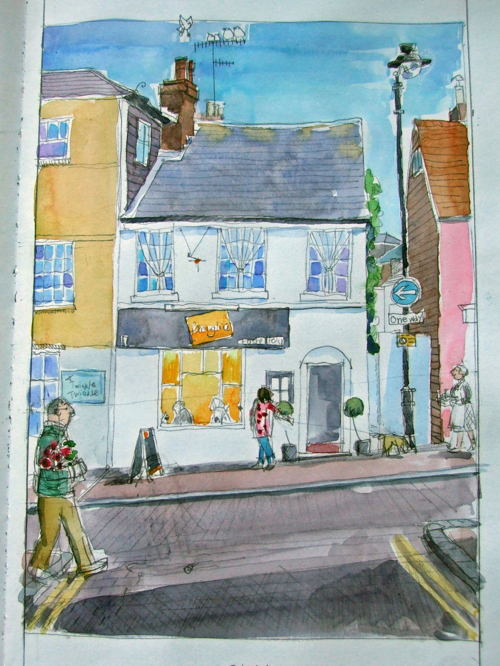 Famiglia, Lewes. A prep sketch for a new painting www.lyndseysmith.co.uk