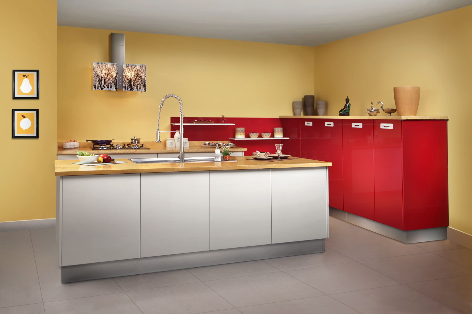 Contemporary Island Model Kitchen  Sleek Modular Kitchens Cochin Captivating Model Kitchen Designs Design Decoration