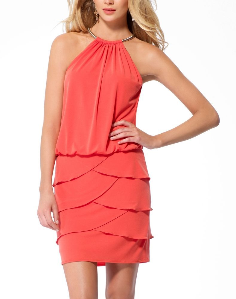NWT SEXY Cache Orange Evening Dress Formal Party (M) 8