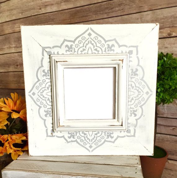 Shabby Chic Picture Frame - 4x4 Distressed Frame in Vintage White ...