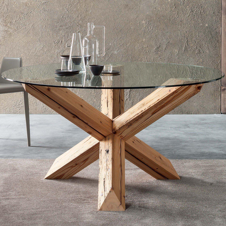Asterisk Tisch Mit Basis Aus Abfallholz Im Industrie Look Und Platte Aus Durchsichtigem Glas Holzesstische Diy Esstisch Kleiner Esstisch