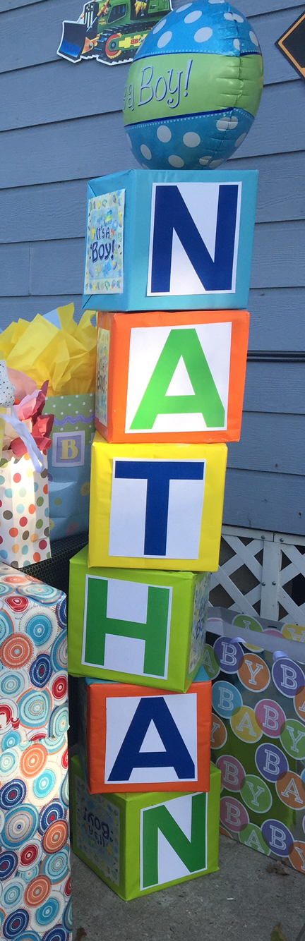 Baby Shower Name Blocks Supplies Wrapping Paper Color Of Choice