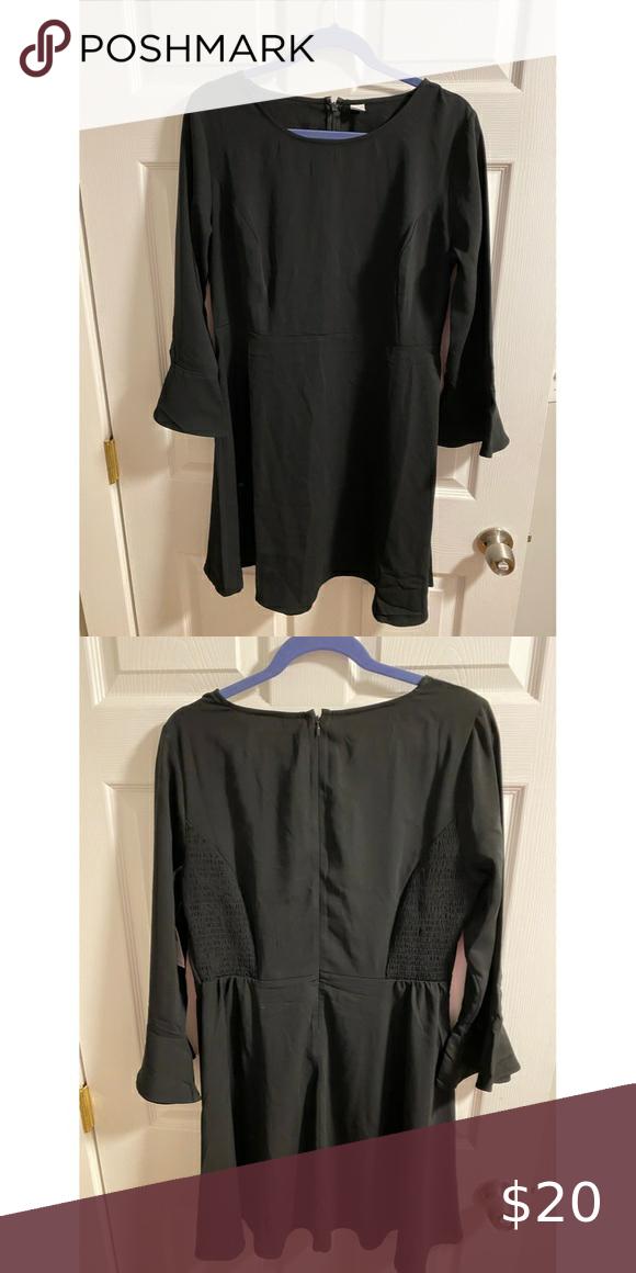 NWT Black Flowy Dress with Bell Sleeves NWT Black
