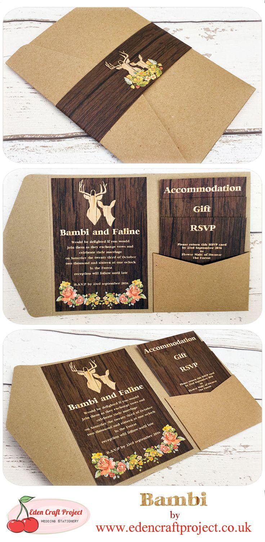 deer hunter wedding invitations%0A The Disney Inspired Bambi Pocketfold Wedding Invitation  Perfect for  Rustic  disney  fairytale