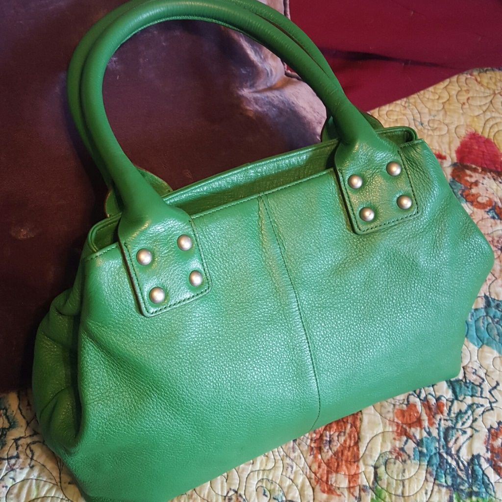 Green Leather Bowling Purse