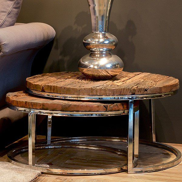 Luxe Kensington Reclaimed Wood Round Nest Of Tables Reclaimed Wood Side Table Wood Rounds Rustic Side Table