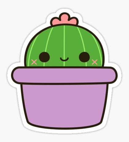 'Cactus with flower in cute pot' Sticker by peppermintpopuk #cactuswithflowers