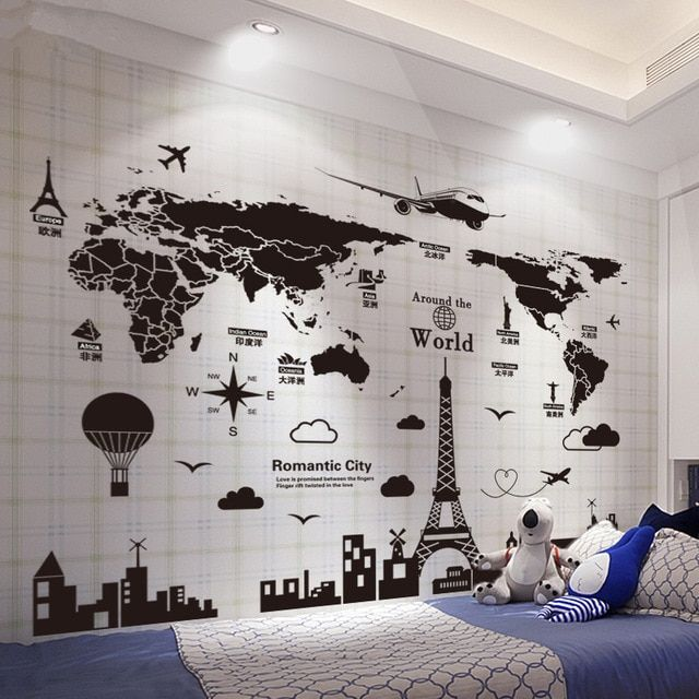 [SHIJUEHEZI] World Map Wall Stickers DIY Europe Style Buildings Wall Decals for Living Room Company School Office Decoration