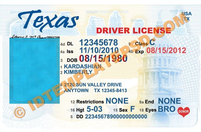 This Is Texas Usa State Drivers License Psd Photoshop Template