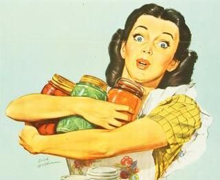 housewife busily canning!  I always look that fresh while hard at work. :)