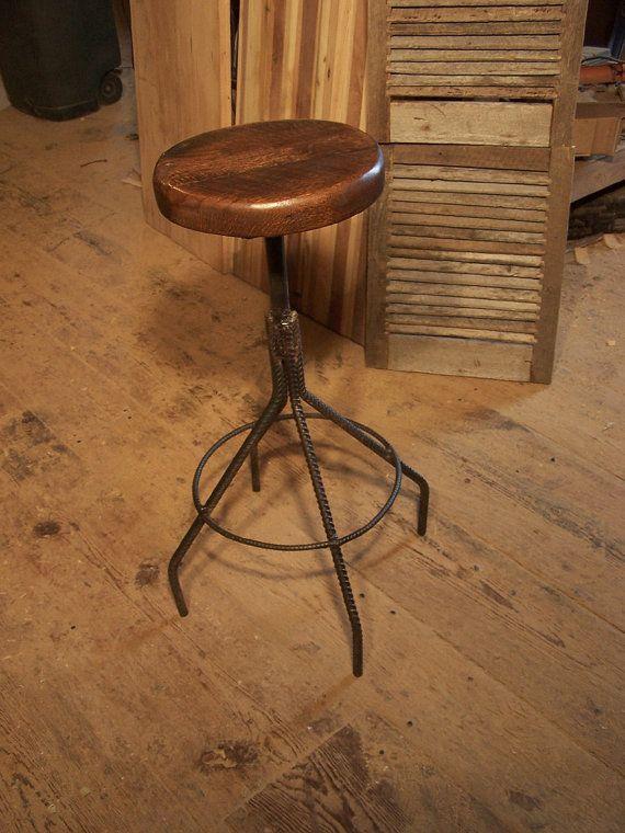 Toledo Style Bar Stools From Reclaimed Oak By