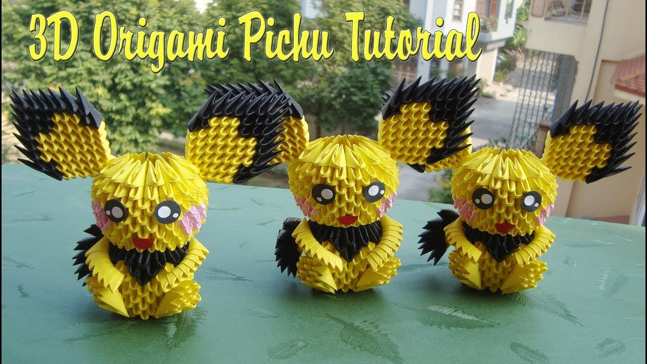 HOW TO MAKE 3D ORIGAMI PICHU POKEMON