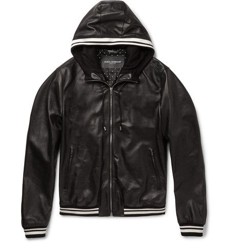 23c4bbff1 DOLCE & GABBANA Jersey-Trimmed Hooded Leather Jacket. #dolcegabbana ...