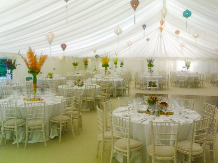 Vietnamese Lanterns Of Various Sizes And Colours Each Lantern Was Wired Up So They Really Could Light Up The Marquee Table Decorations Table Chiavari Chairs