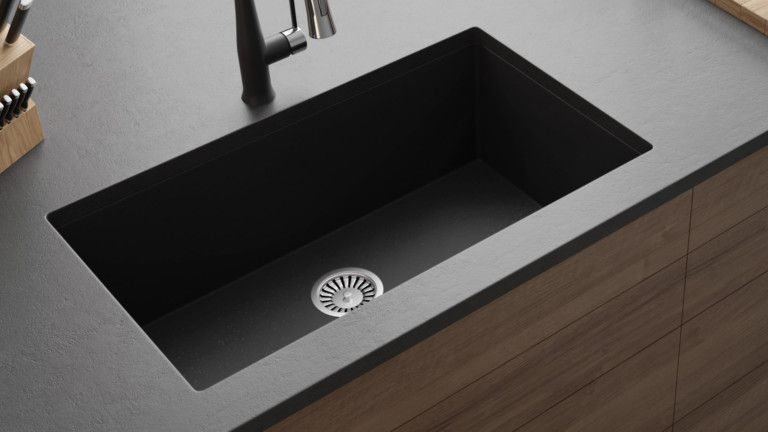 32 Granite Composite Large Undermount Single Bowl Kitchen Sink