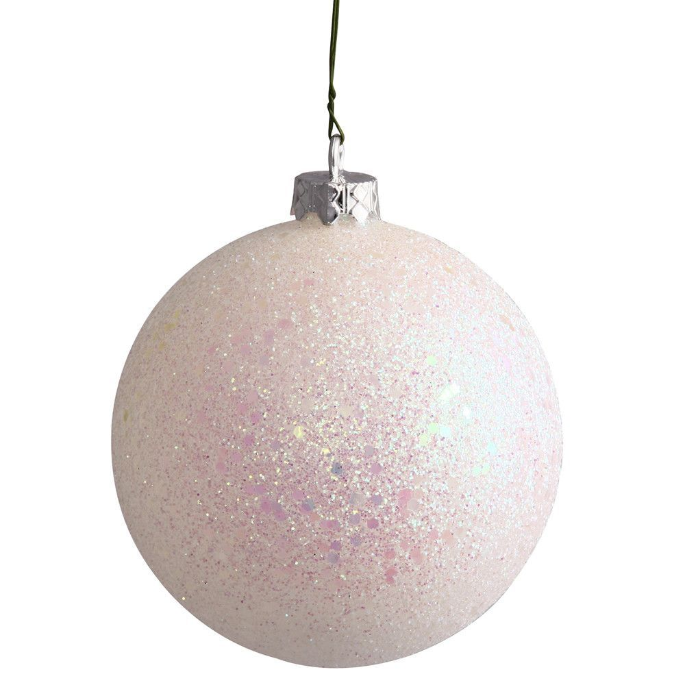 "8"""" White Sequin Ball Drilled Cap"