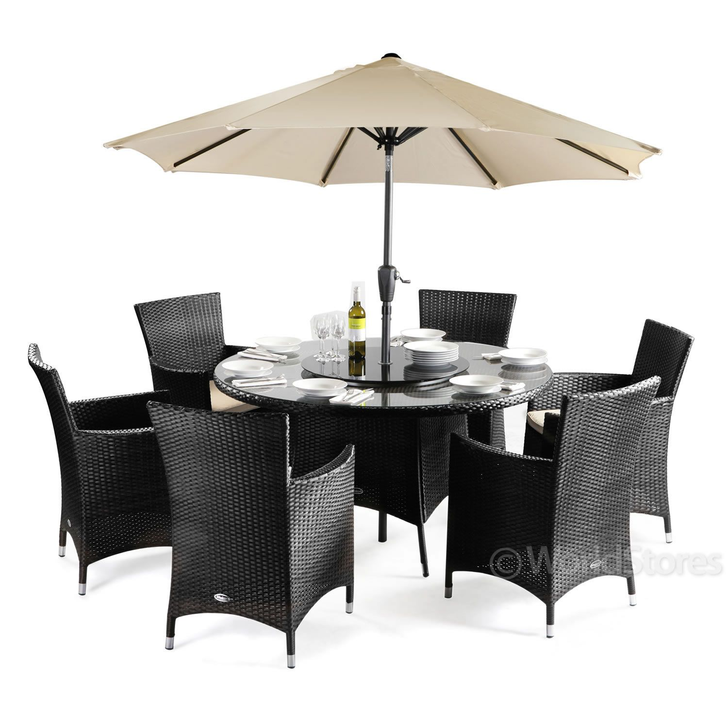 rattan round 6 chairs patio furniture set