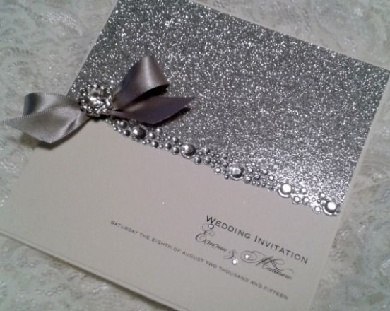 Silver Glitter Wedding Invitation With Bow