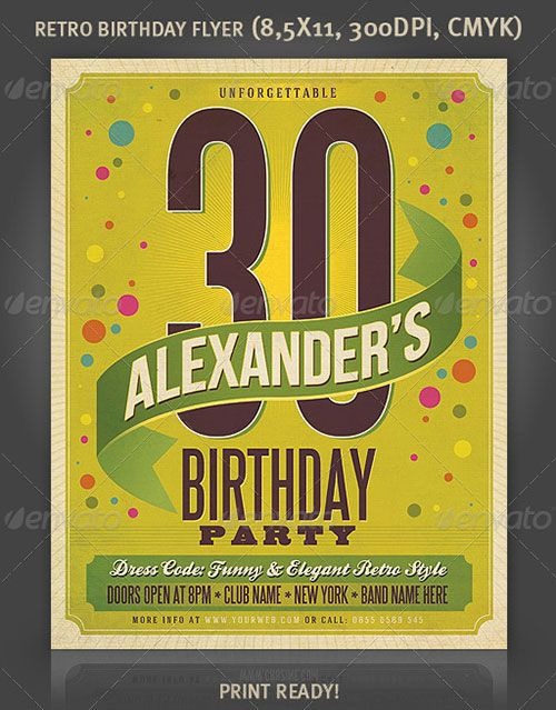 Birthday party birthday bash celebration flyer poster template free club party psd flyer for Birthday posters free download