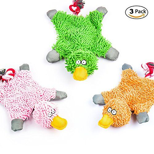 3 Pack Squeaky Dog Toys Plush Funny Duck Rope Chew Animal Puppy