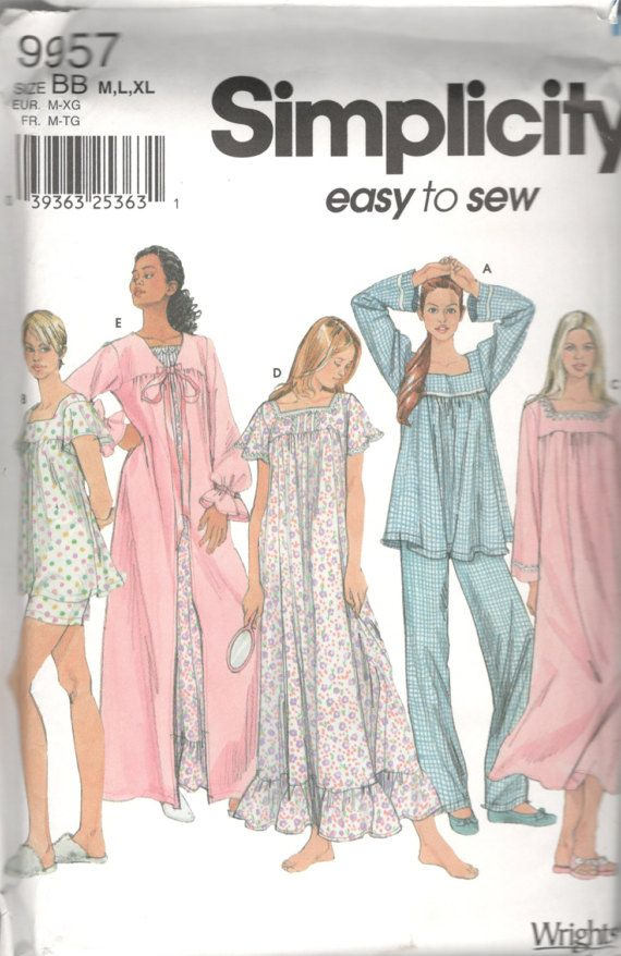 Simplicity 9957 Misses Easy Robe Nightgown Pajamas Baby Dolls ... edf173d51