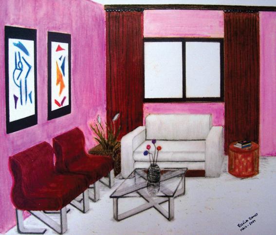 Sala elaborada com desenho a lápis e posterior pintura em pastéis a óleo.