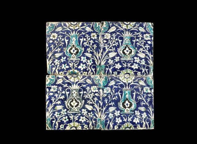 Four Damascus underglaze-painted pottery Tiles Syria, 17th Century(4)