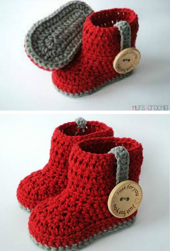 Crochet Ugg Booties Pattern Free Easy Video Tutorial | Babyschühchen ...
