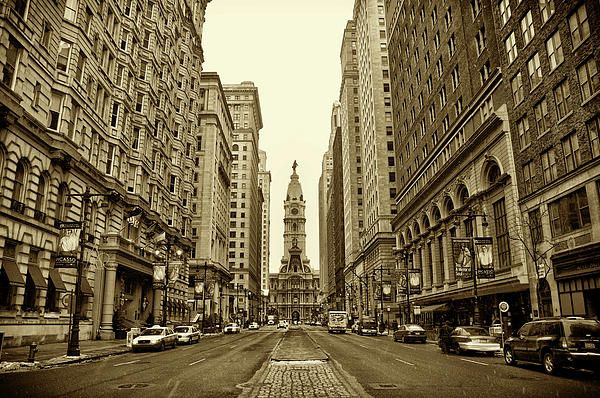 Broad Street Facing Philadelphia City Hall In Sepia By Bill Cannon With Images Philadelphia City Hall Broad Streets City Hall